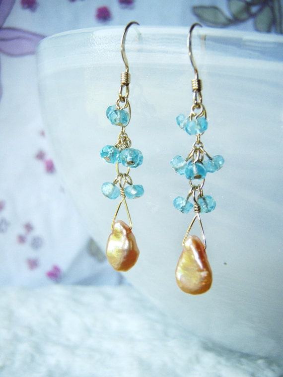 Apatite earrings with peach keshi pearls, gold jewelry