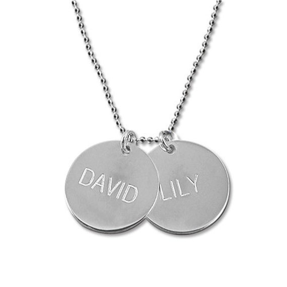 Mother's Day Gift Personalized Engraved Disc Necklace Sterling Silver