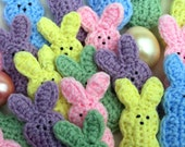 "5 Bunnies. Crocheted, 5 different colors. ""Marshmallow"" Bunnies for your Easter fun."
