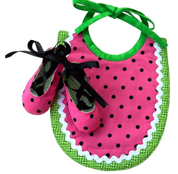 BABY GIFT SET: Watermelon Bib and Matching Baby Ballet Shoes. Pink, Black and Green. Cotton. Delightful.