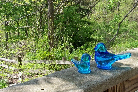 "Blue Birds   Hand Blown Glass   ""Blue Birds of Happiness""  from the 1990's....signed and dated."