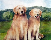 Golden Boys, Retrievers, 5 x 7 print on acid free 8.5 x 11, 65 lb. off-white matte, signed by me, carefully shipped flat.