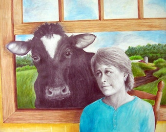Cow in the Window, 5 x 7 print on 8.5 x 11, 65 lb. acid free off-white matte, signed by me, carefully shipped flat.
