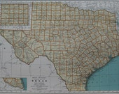 1936 Vintage TEXAS State Map ORIGINAL not a Reproduction