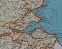 1937 Antique SCOTLAND Map of Scotland United Kingdom  Beautiful Vintage 1930s Map Color Plaindealing 5841