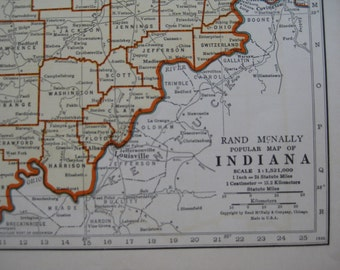 1942 Vintage INDIANA Map of Indiana State Map Print Gallery Wall Art Home Office Decor Gift for Traveler Birthday Wedding 6575