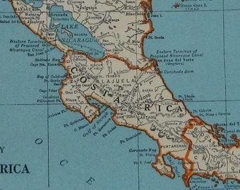 1939 Antique CENTRAL AMERICA Map 1930s Costa Rica Map Guatemala Map Panama Honduras Plaindealing 6935
