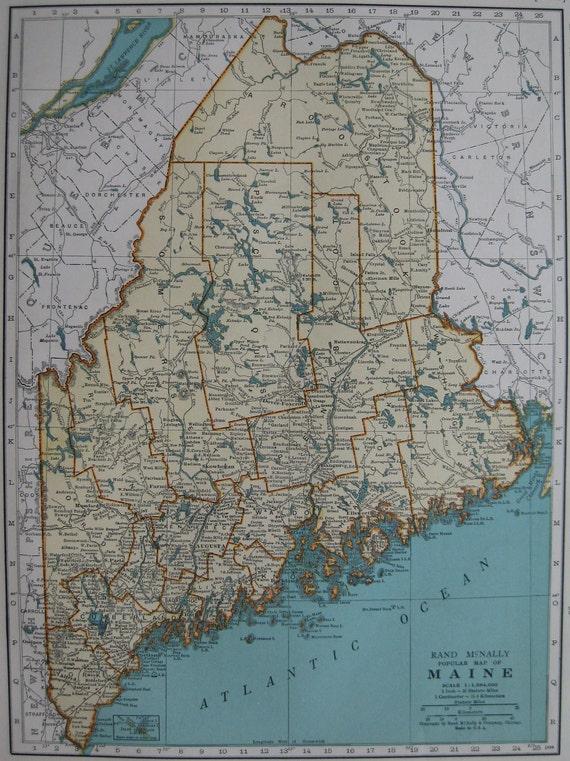 1936 Vintage MAINE ME  State Map ORIGINAL with Beautiful Color Plaindealing 389