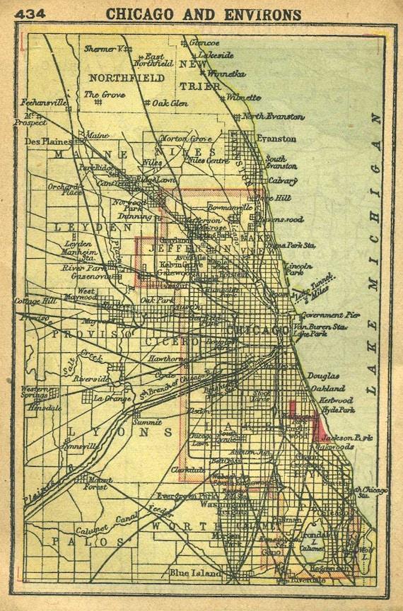 Vintage Map CHICAGO Illinois 1902 MINIATURE Map Plaindealing 330