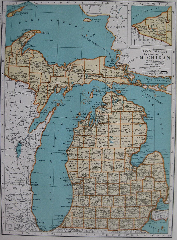 1940 Vintage Michigan Mi Map Antique 1940s Map Beautiful