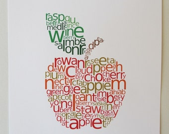 apple print - original typographic art