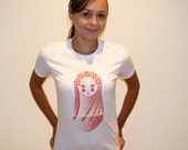 Festival Matryoshka Screen Printed White Tee Pink Ink