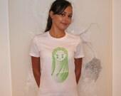 Screen-printed T-shirt Festival Matryoshka Doll - White Tee Pistachio Green Ink (Small-XLarge)