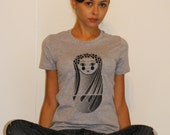 Screen-printed T-shirt Festival Russian Nesting Doll - Heather Grey Tee Black Ink (Small-Large)