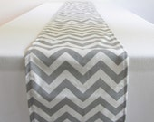 Gray and White Chevron Table Runner - 11 x 117 in.