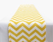Yellow and White Chevron Table Runner - 11 x 93 in.