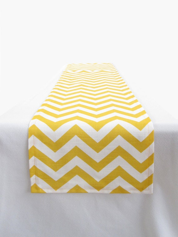 Yellow and White Chevron Table Runner - 11 x 72 in.