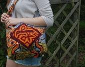 NIDO Boho Bag, Festival, Tribal, hippie crossbody, African Wax Print with Mola, Panama - socially responsible, women's cooperative