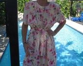 Vintage 1980''s Pink Floral Miss Dorby Petite Dress