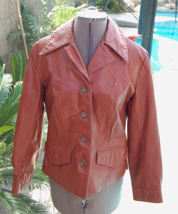 Vintage 70's Women's Rust Leather Tailored Jacket