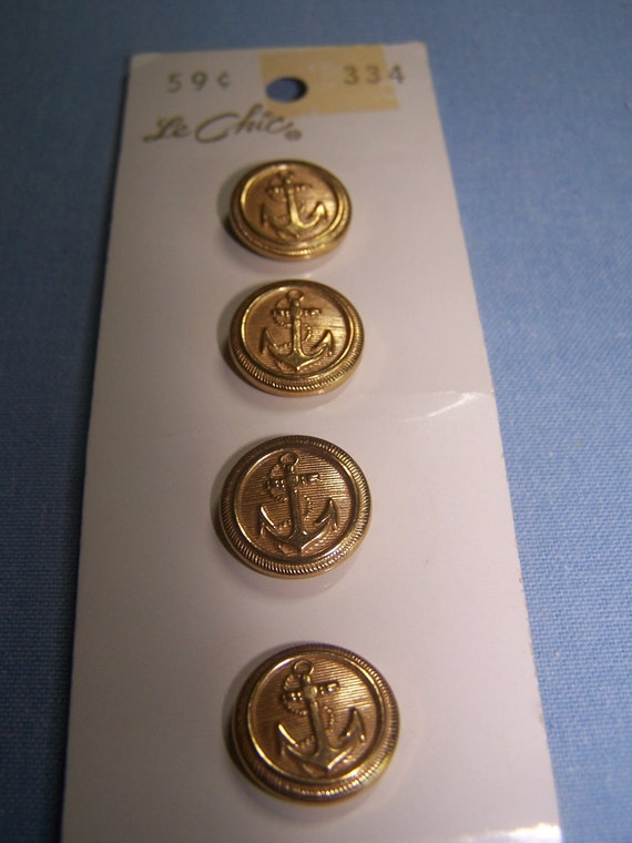 """Vintage Brass Tone 5/8"""" Anchor Buttons, Set of 4 (no. 608)"""