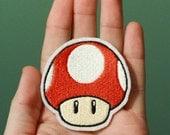 SUPER MUSHROOM --Nintendo Throwback Customizable Embroidered Iron-on Mario Patch