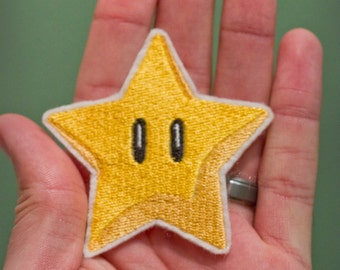 STAR POWER-- Embroidered Iron-on Nintendo Throwback NES Invincibility Star Mario Brothers