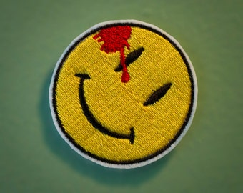 Watchmen Symbol - Iron-on Embroidered Smiley Face Patch