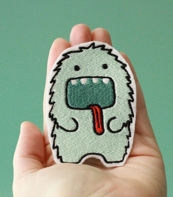 OKsmalls Original --The Furry Beast-- Embroidered Iron-On Monster Patch
