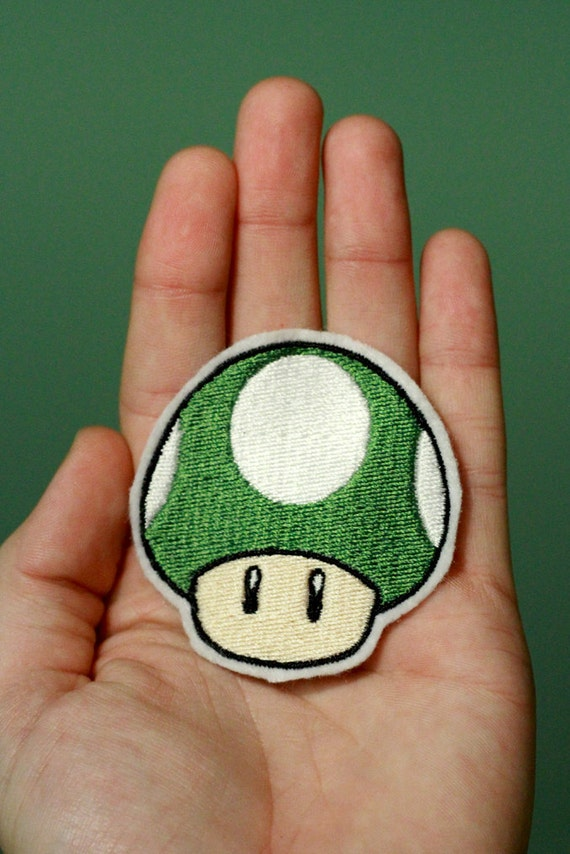 1 UP MUSHROOM--Nintendo Throwback Customizable Embroidered Iron-on Mario Patch