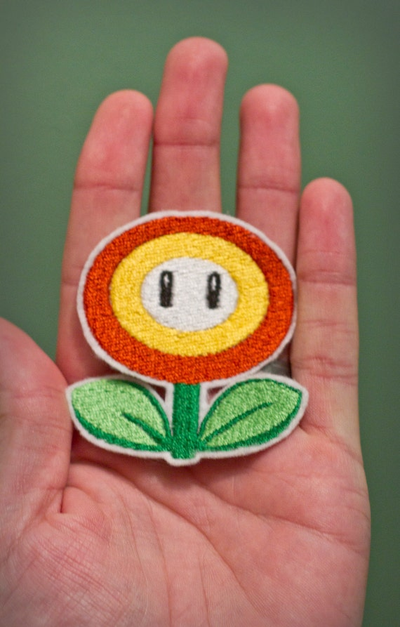 FIRE FLOWER--Embroidered Iron-on Nintendo Throwback NES Mario Brothers