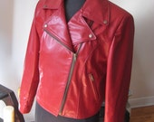 Leather motorcycle jacket lipstick red classic