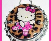 Hello Kitty Ballerina Leopard Bottle Cap Pendant  Only 99 Cents