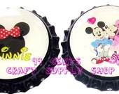 2 Minnie & Mickey Bottle Caps For All Your Crafting Needs  Only 99 Cents