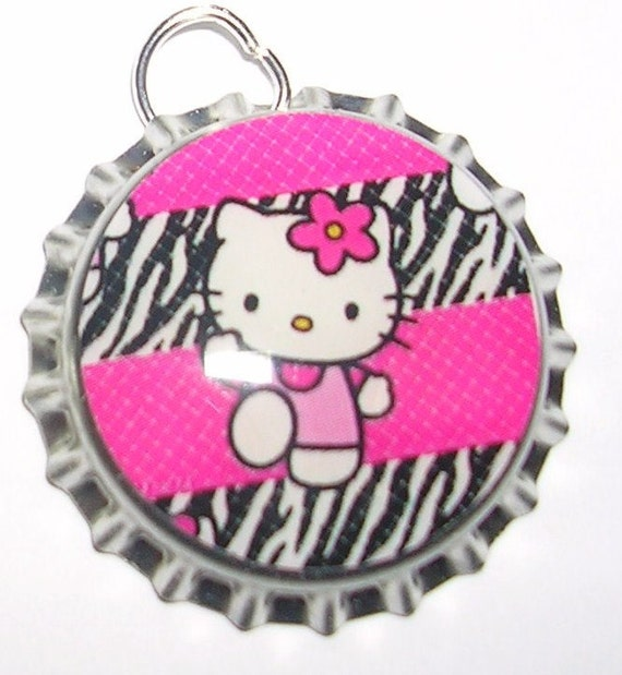 Hello Kitty  Pink Zebra Bottle Cap Pendant  Only 99 Cents