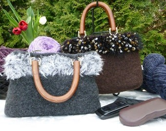 Felted Purse, Brown or Dark Grey Hand knit Felted Purse with Wood Handles