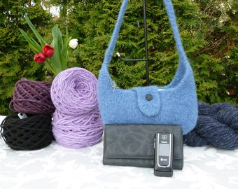 Felted Purse, Blue Hand knit Felted Mini Hobo Bag