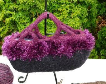 Felted Purse, Black and Heather Purple Fancy Handle Hand knit Felted Purse