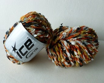 Sale Wool Blendy Grey, White and Burnt Orange Yarn by ICE