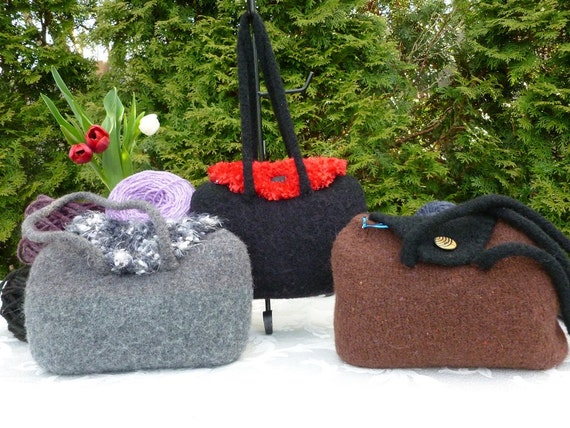Felted Purse,  Grey or  Black with Red Bubble Hand knit Felted Purse