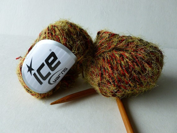 Sale Green Eyelash Blend with a Red Yarn by ICE