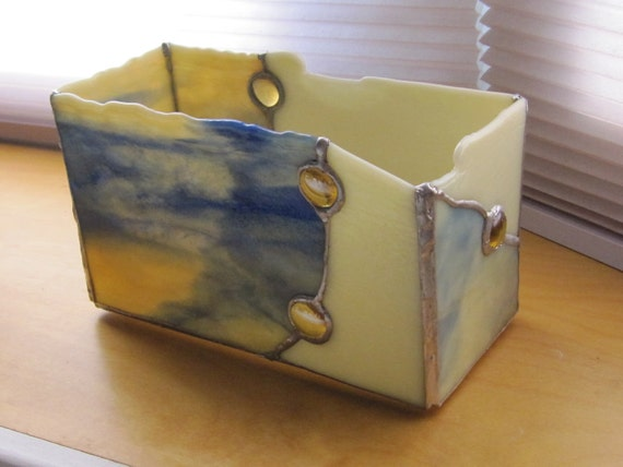 """Stained Glass Tabletop Container """"Blueberry Caramel Creme 1"""""""