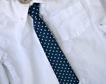 Navy with White Polka Dots Adjustable Baby / Toddler / Little Boy Skinny Tie Necktie