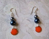 persimmon. dark tangerine. charm. pewter. blue. glass pearl beads. silver beaded earrings. unique.