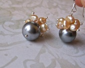 Pearl cluster earrings with cream pearls and silvery gray glass pearls