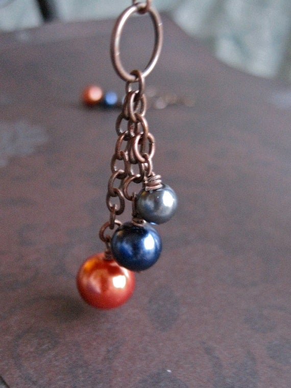 pewter navy blue and copper, glass pearl earrings