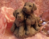Adorable Puppies  Labs Made from Mt. St. Helens Ash  Exsquisite Detail Gorgeous 3  and half Inches