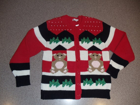Teddy Bear Christmas Cardigan