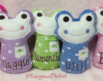 Personalized Polka Dot Mini Frog Baby Rattle Soft Toy