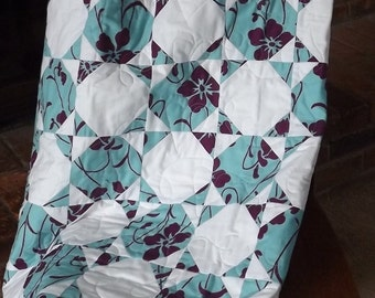 MODERN QUILT:  Handmade Two Color Lap Throw Custom